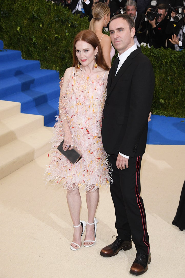 Julianne Moore with Calvin Klein Chief Creative Officer Raf Simons.