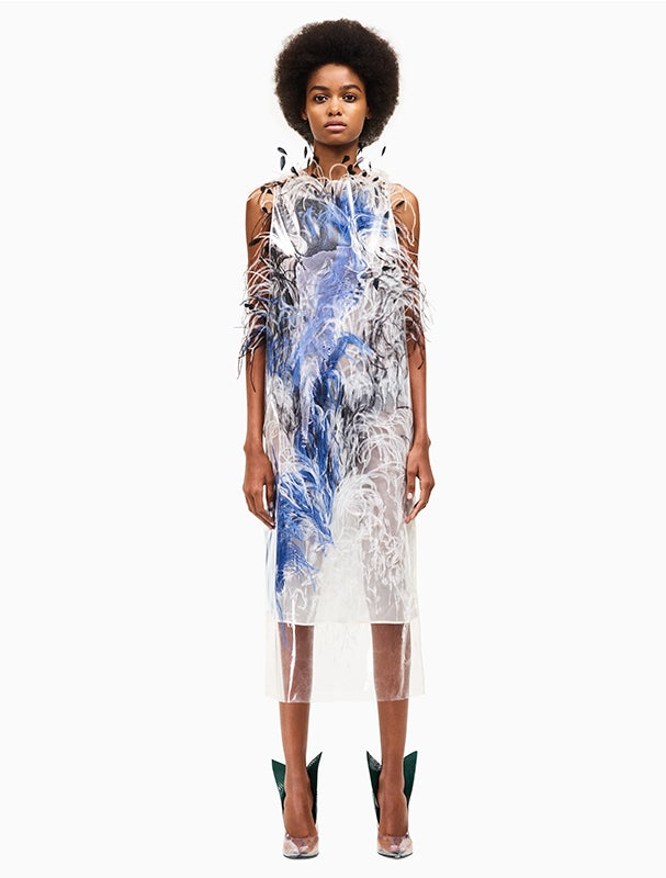 Calvin Klein 205W39NYC Feather Plastic Dress Designed By Raf Simons