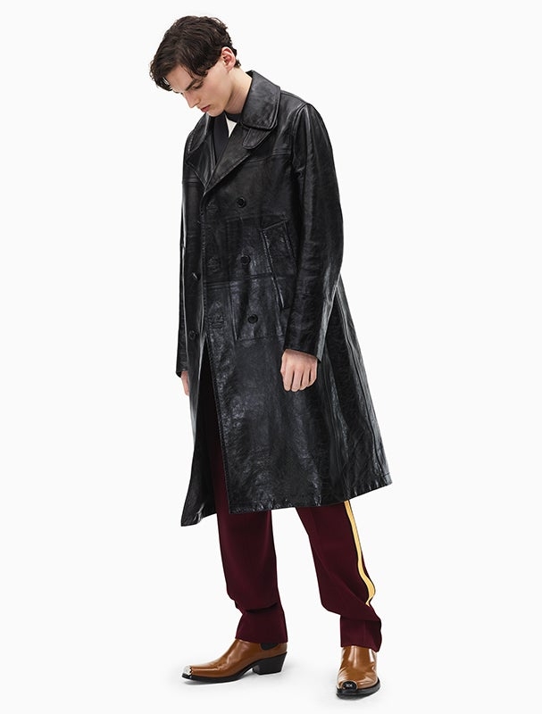 Calvin Klein 205W39NYC Double Breasted Leather Coat Designed By Raf Simons