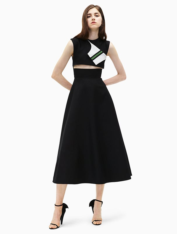 Calvin Klein 205W39NYC Marching Band Wool Twill Cut-Out Dress Designed By Raf Simons