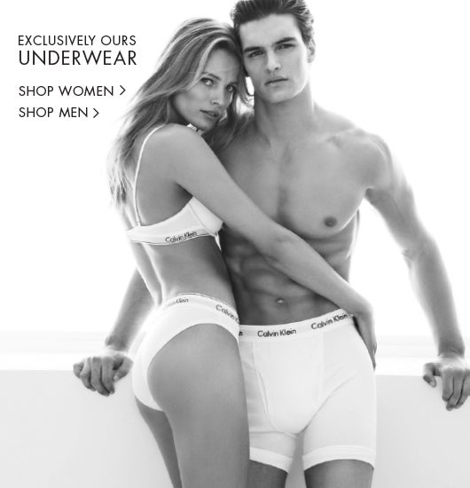 Exclusively Ours. Only available at calvinklein.com. Underwear for him + her.