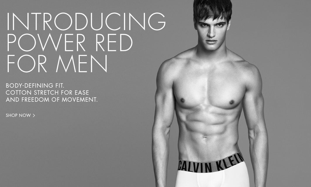 Introducing Power Red for men. Body-defining fit. Cotton stretch for ease and freedom of movement.