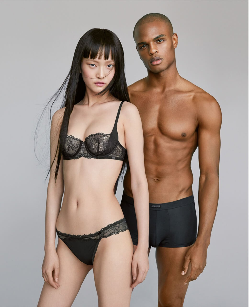 female + male model in underwear