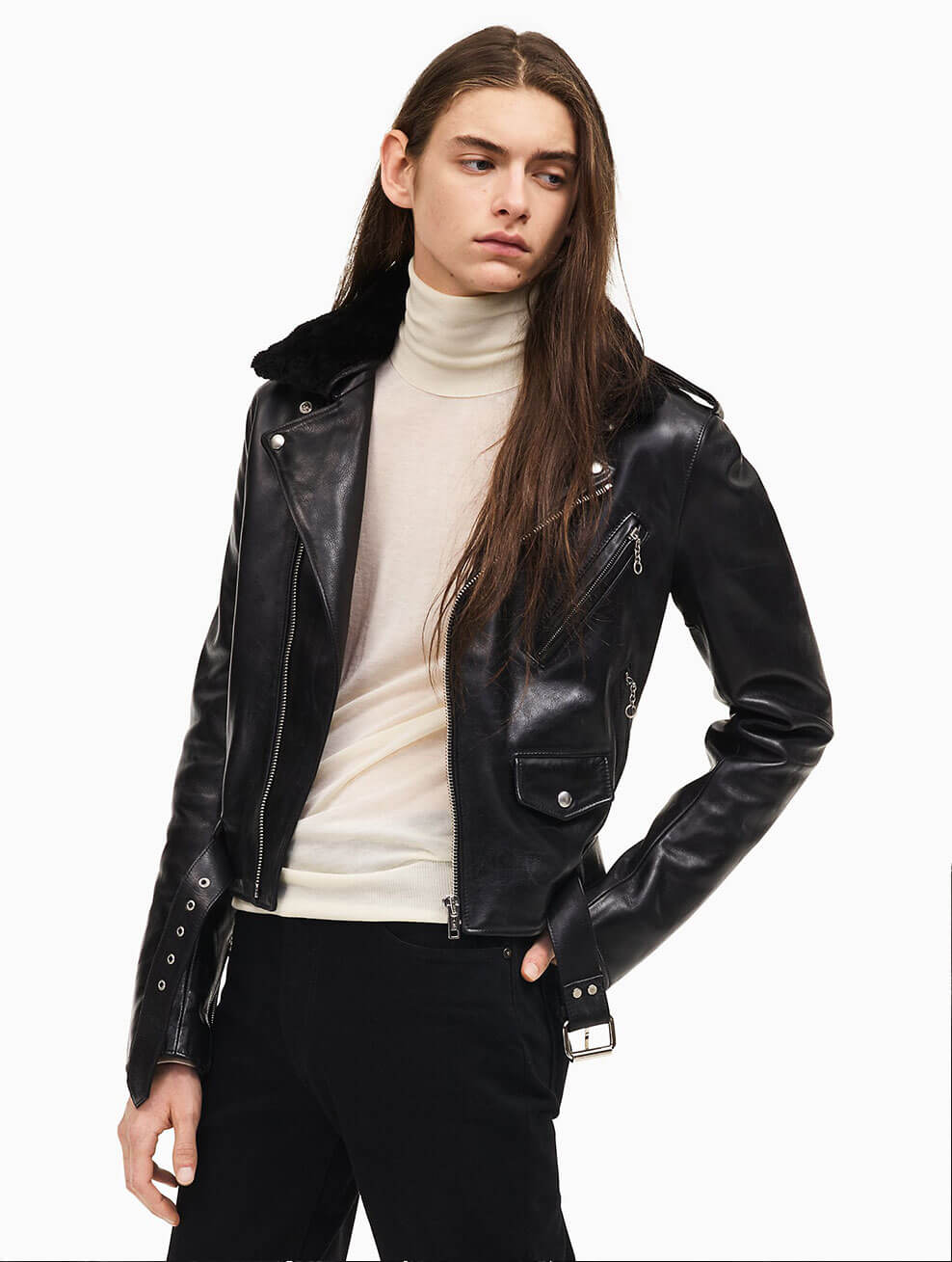 Calvin Klein Leather Biker Jacket for Him