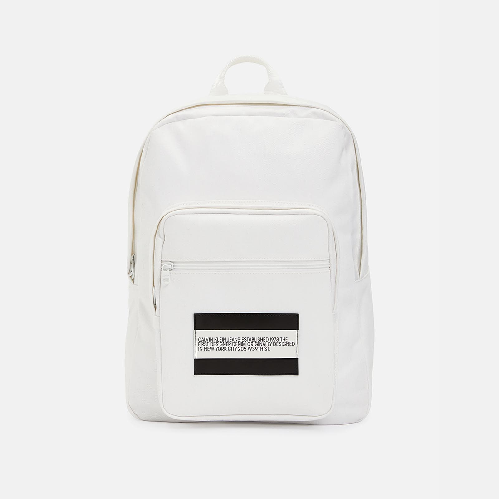 est. 1978 patch white denim backpack